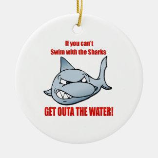 Swim with the Sharks Round Ceramic Ornament