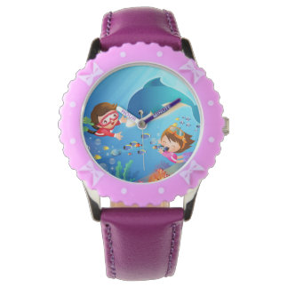 Swimabout Dolphin Watch with Purple Ribbons