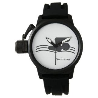 SWIMMER | black and white swim icon Wrist Watches
