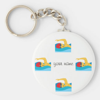 "Swimmer Emoji   and '' Your Name Here "" Keychain"