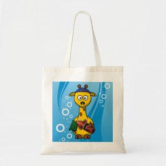 Swimmer Giraffe Cute Cartoon Tote Bag