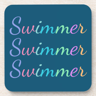 """""""Swimmer"""" in Colorful Lettering on Ocean Blue Beverage Coasters"""