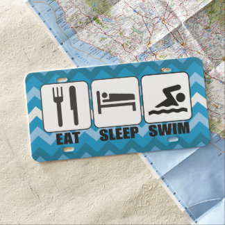 Swimmer or Coach's Eat Sleep Swim Fun Novelty License Plate