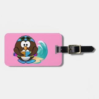 swimmer owl luggage tag
