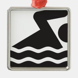 Swimmer Silver-Colored Square Ornament