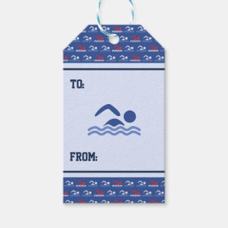 Swimmers blue red pattern sports gift tags