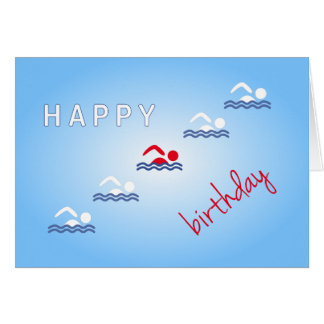 Swimmers happy birthday blue sports card
