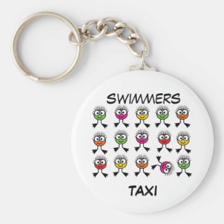 Swimmers TAXI - Bright Swim Characters Keyring Basic Round Button Keychain
