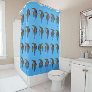 SWIMMING AGAINST THE TIDE SHOWER CURTAIN