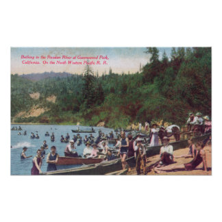 Swimming and Boating on the Russian River Poster