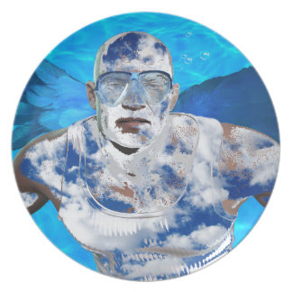Swimming angel dinner plates