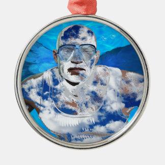 Swimming angel Silver-Colored round ornament