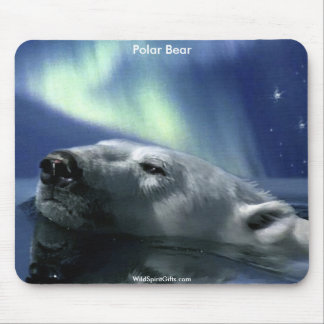 Swimming Arctic Polar Bear & Aurora Mouse Pad