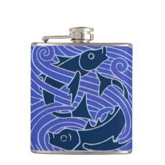 Swimming Blue Fish Hip Flask