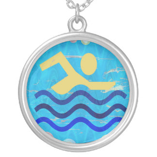 Swimming Champion Silver Plated Necklace