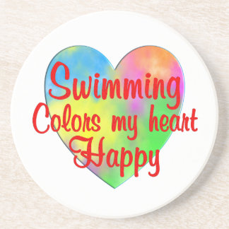 Swimming Colors My Heart Happy Beverage Coasters