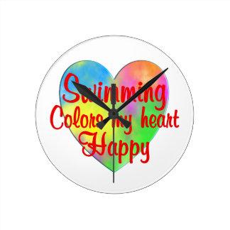 Swimming Colors My Heart Happy Wallclocks