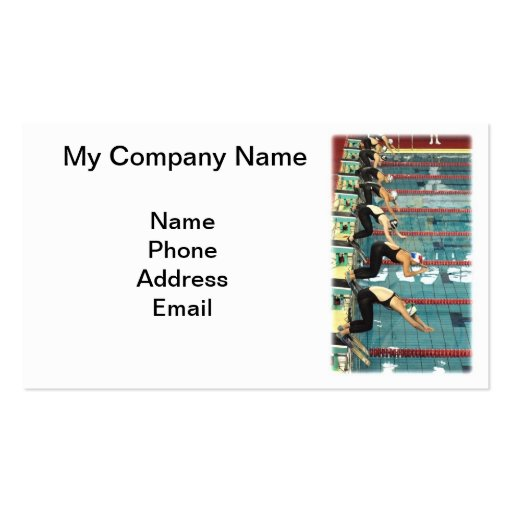 Swimming Competition at Indoor Pool Business Card Templates