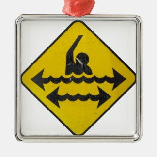 Swimming Danger Sign Metal Ornament