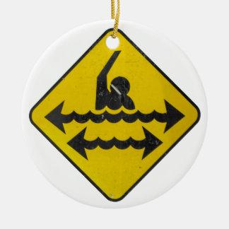 Swimming Danger Sign Round Ceramic Ornament