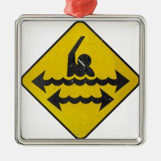 Swimming Danger Sign Silver-Colored Square Ornament