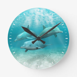 Swimming Dolphins Wallclock