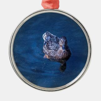 Swimming Duck Silver-Colored Round Ornament