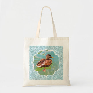 Swimming Duck with Swirl Teal Border Tote