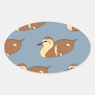Swimming Ducks Oval Sticker