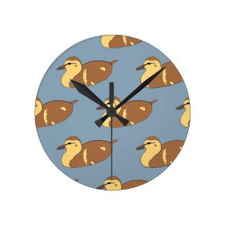Swimming Ducks Round Clock