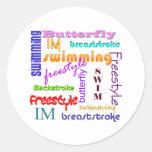 Swimming Everywhere Round Sticker