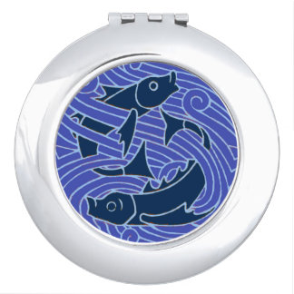 Swimming Fish Blue Waves Compact Mirrors