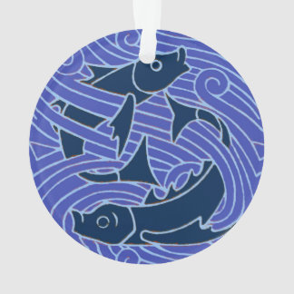 Swimming Fish Blue Waves Ornament