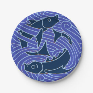 Swimming Fish Blue Waves Paper Plate