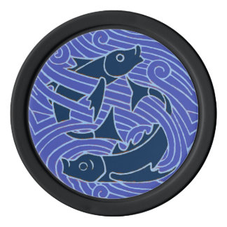 Swimming Fish Blue Waves Poker Chips