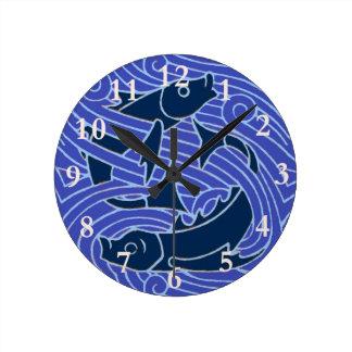 Swimming Fish Blue Waves Round Clock