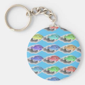 Swimming Fishies Basic Round Button Keychain