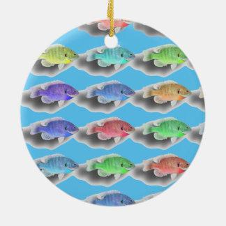 Swimming Fishies Round Ceramic Ornament