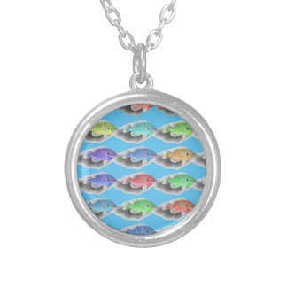 Swimming Fishies Silver Plated Necklace