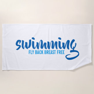 Swimming Fly Back Breast Free Typographic Text Beach Towel