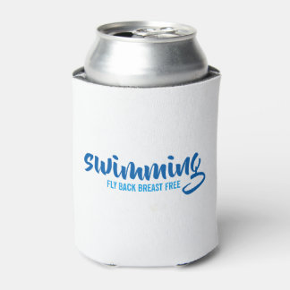 Swimming Fly Back Breast Free Typographic Text Can Cooler