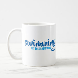 Swimming Fly Back Breast Free Typographic Text Coffee Mug