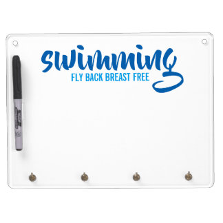 Swimming Fly Back Breast Free Typographic Text Dry Erase Board With Keychain Holder