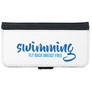 Swimming Fly Back Breast Free Typographic Text iPhone 6 Wallet Case