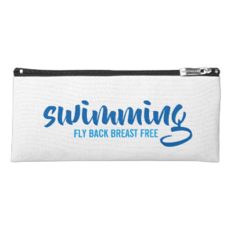 Swimming Fly Back Breast Free Typographic Text Pencil Case