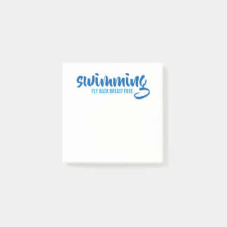 Swimming Fly Back Breast Free Typographic Text Post-it Notes