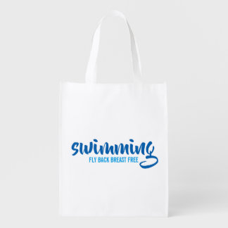 Swimming Fly Back Breast Free Typographic Text Reusable Grocery Bag