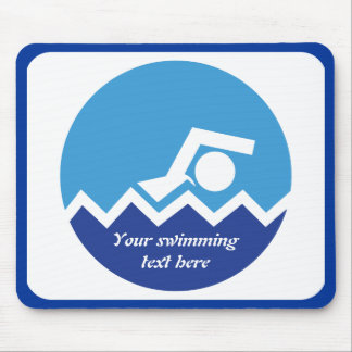 Swimming gifts, swimmer on a blue circle custom mouse pad