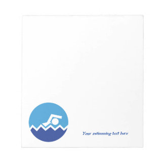Swimming gifts, swimmer on a blue circle custom notepads