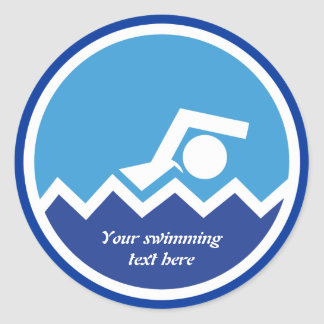 Swimming gifts, swimmer on a blue circle custom round sticker